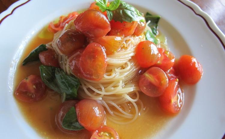 ミニトマトの冷製カッペリーニとイワシのマリネ