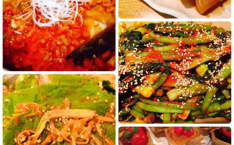 スンドゥブチゲ、エゴマの葉っぱチャアチ、小松菜キムチ,大根の煮物など(お土産あり)