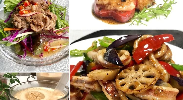 イカと野菜の黒胡椒炒め・牛肉サラダ・ピーマンの海老あん詰め豆豉ソース