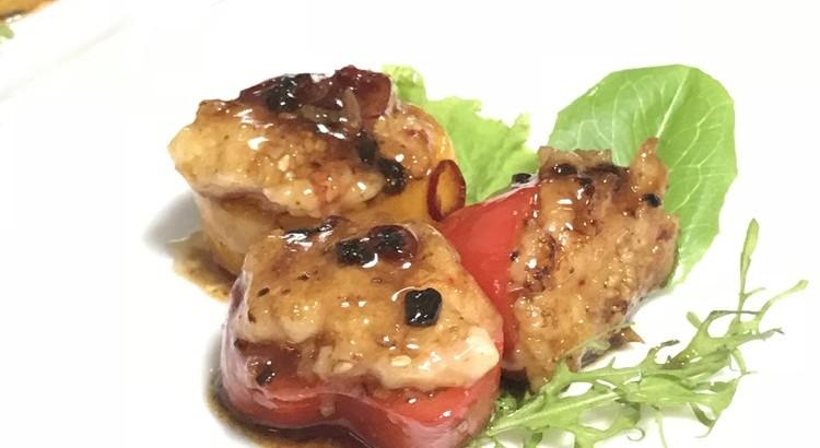 ピーマンの海老あん詰め豆豉ソース