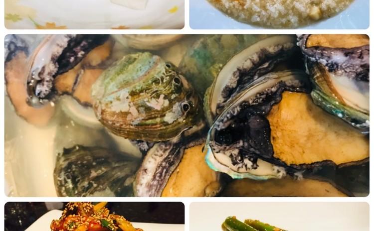 アワビお粥전복죽、ツブ貝ムチム골벵이무침、チキンム치킨무、マヌルチョン和え物마늘쫑무침(お土産あり)