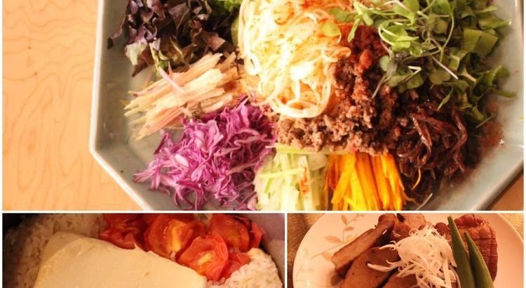 真夏の和え麺、煮豚、トマトと豆腐の炊き込みご飯、煮豚で展開料理2品、