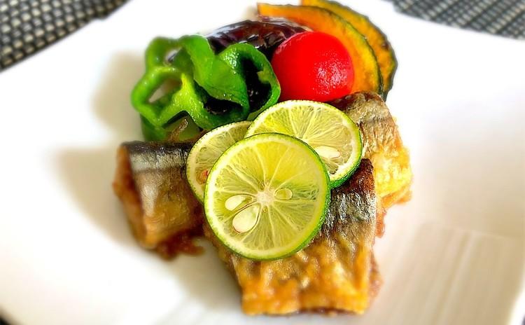 秋刀魚と野菜の揚げ浸し、すだちの香り