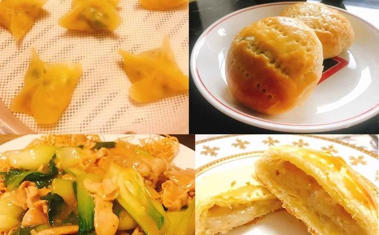 香港名物ワイフケーキ&卵麺のあんかけ焼きそば、パクチー入り蒸し餃子