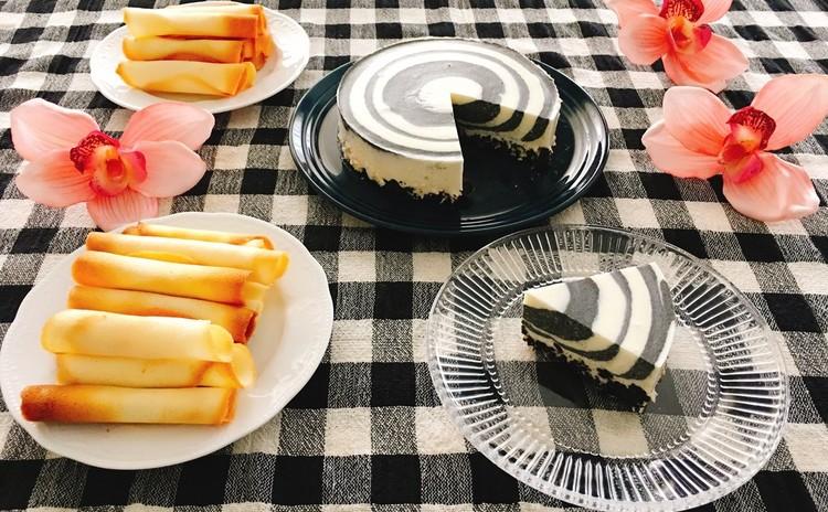 黒ごま豆腐のレアチーズケーキとシガレットクッキー