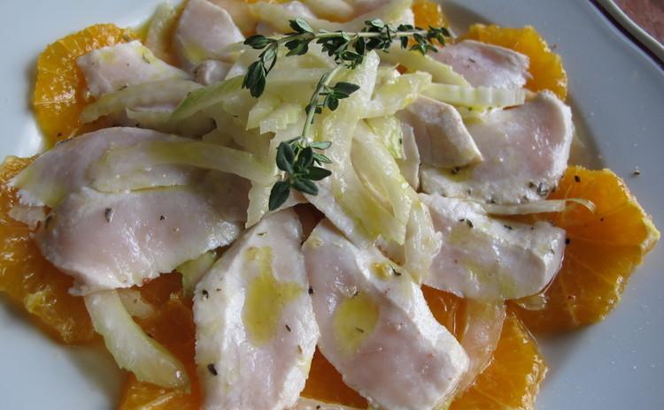 パプリカのトマトソースとカジキマグロとオレンジのカルパッチョ