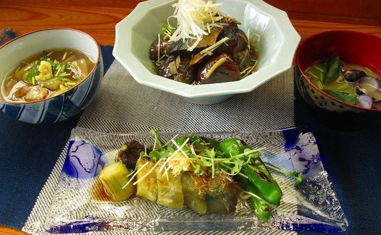 京の夏のおばんざい!2種の茄子料理と芋茎の餡かけ、しじみのみそ汁