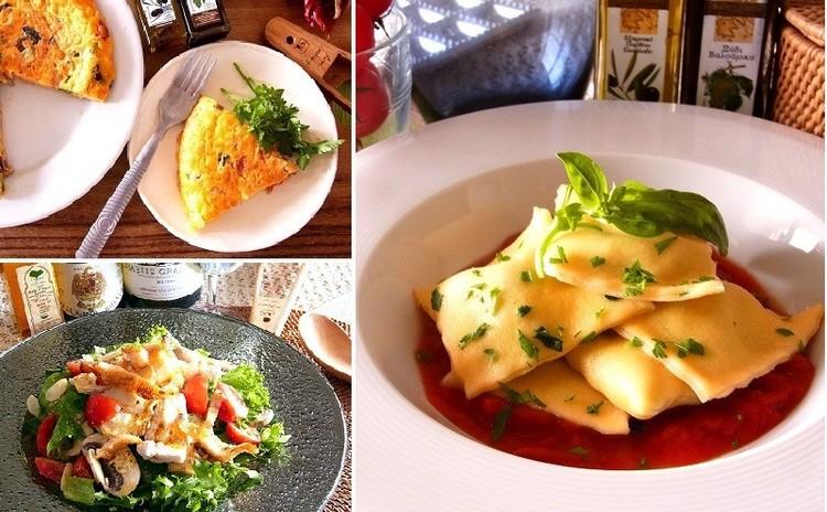 リクエスト企画 自家製パスタ生地でラビオリ フリッタータとスパイシーチキンの贅沢サラダ