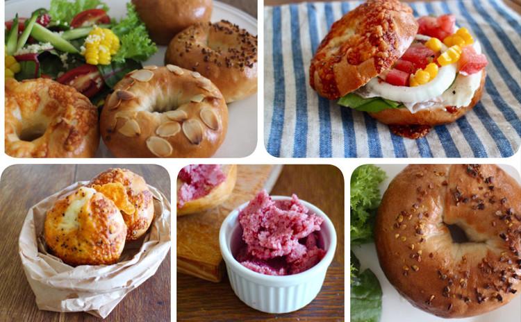 *天然酵母でbagel party!!*楽しくおいしく作りましょう!!6種類のベーグルとフルーツディップも作ります!(ランチ付)*インスタントドライイーストでの置き換えもお伝えできます*
