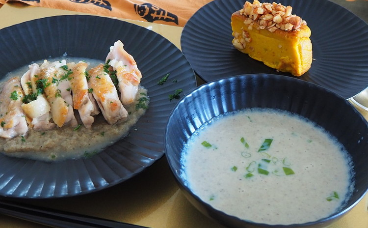 【料理教室:実習あり】ハロウィンを♪コクある調味料ごぼうソースで♪鶏肉ソテー・ポタージュにアレンジ&キャラメルナッツのパンプキンケーキも!