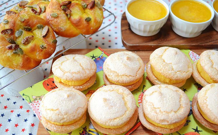 🎃ハロウィンに作ろう!かぼちゃと生クリームのブッセとクリームチーズクリームのブッセ、スイートパンプキン(パン)とかぼちゃプリン