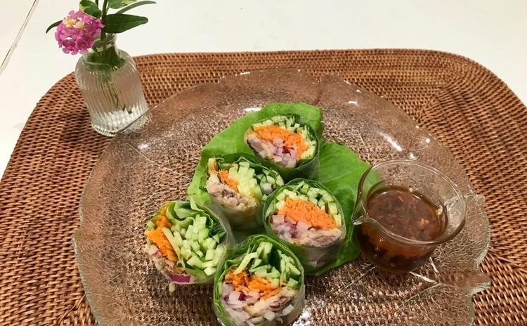 あさりの和パエリア、ガリガリの鰯のフリット入りたっぷり野菜の生春巻き