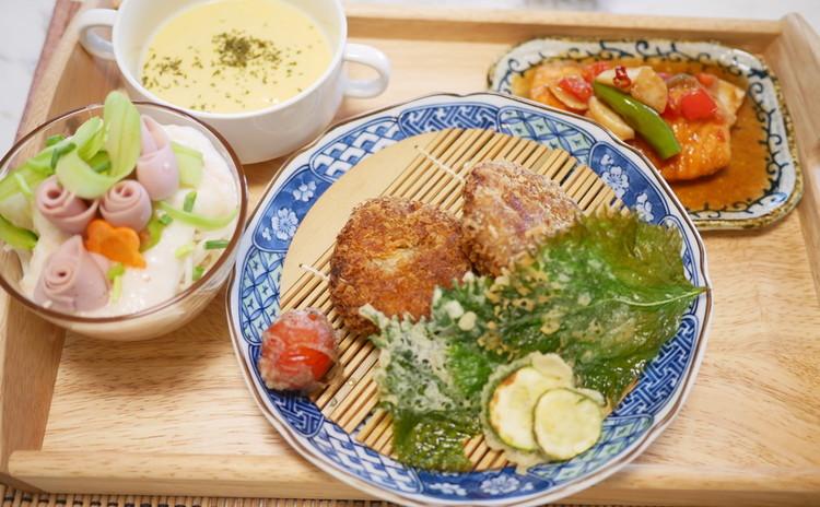 愛され家庭料理メンチカツ、南蛮漬け、夏野菜の天ぷら