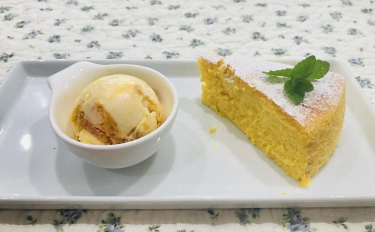 柔らか塩豚のグリル いろいろキノコのソースで とろとろスクランブルエッグ ソフトフランス&フレッシュトマトのブルスケッタ かぼちゃのチーズケーキ