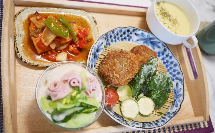 明太子と夏野菜素麺