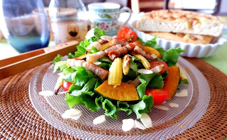焼きカボチャとベーコンの贅沢サラダ