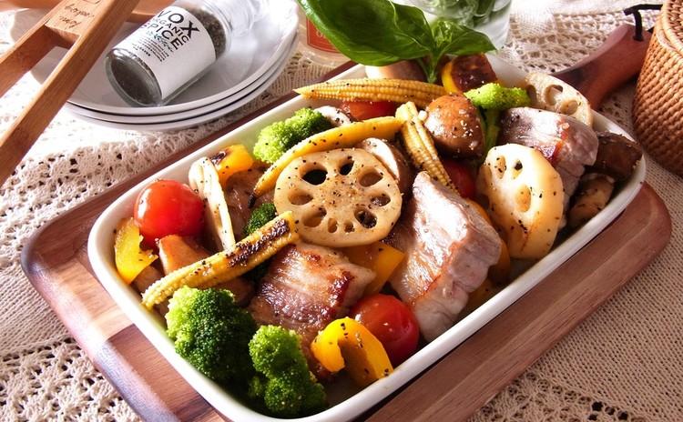 塩豚と色々野菜のグリル ブラックペッパー風味