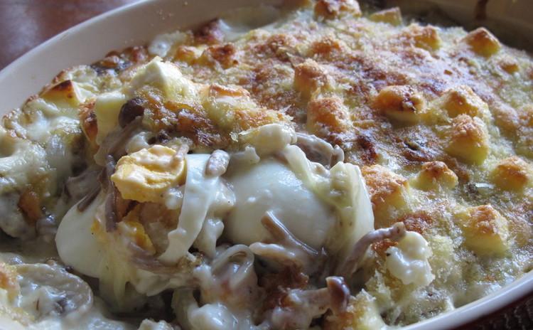 キノコとゆで卵のグラチナート