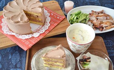 🌟今年のクリスマスはチョコケーキにしませんか? チョコ生クリームとくるみのデコレーションケーキ&チキンの北京ダック風&あさりのクラムチャウダー