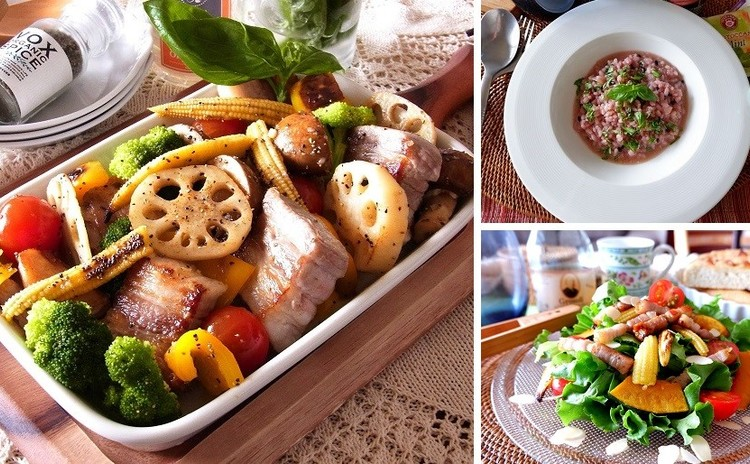 秋の収穫祭!たっぷり野菜とスーパーフードを気軽に楽しむ キヌアと雑穀のリゾットや塩豚と野菜のグリル 全4品