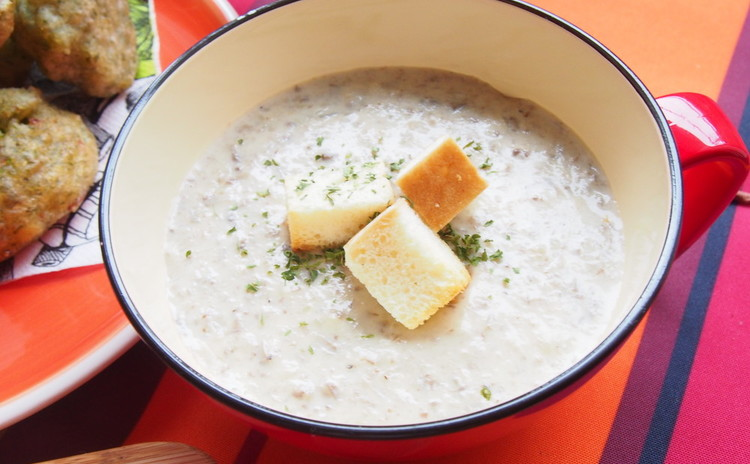 秋野菜とリコッタチーズソースのアメリカンラザニア、青のりとしらすのゼッポリーニ、クリームオブマッシュルームスープ等