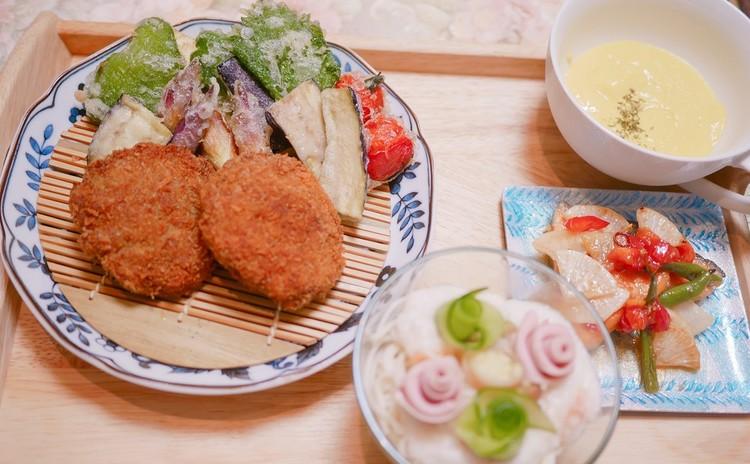 愛され家庭料理メンチカツ、夏野菜の天ぷら、南蛮漬け