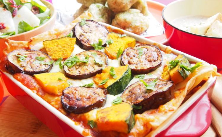 秋野菜とリコッタチーズソースのアメリカンラザニア