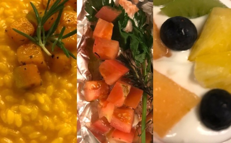 ハロウィン🎃♫かぼちゃのリゾット☆切り身魚のカルトッチョ☆ヨーグルトのクレモーゾ