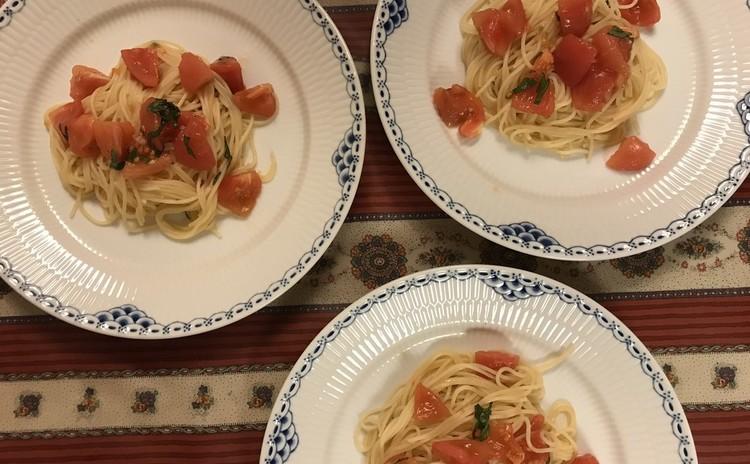 トマトの冷製パスタ☆豚肉のツナソース☆ドルチェ