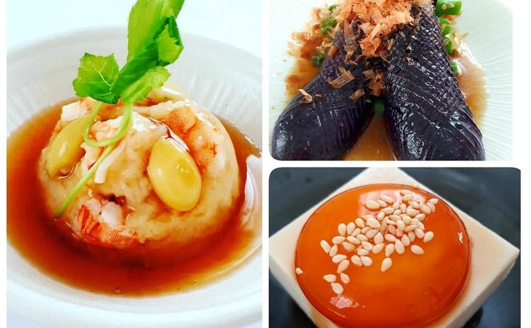 【秋の和食レッスン】海老と銀杏のれんこんまんじゅう、満月豆腐、なすの蒸し浸し ※9月オープン特別価格