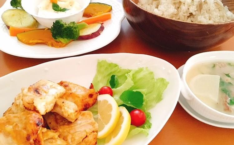 秋の食材おもてなし料理! タンドリーチキン、季節野菜のチーズフォンデュ、舞茸ライス、カブと豚かたまり肉のスープ、マロンタルト