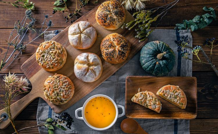 自家製酵母パン!かぼちゃ平焼きあんぱん&プチパン、かぼちゃポタージュ