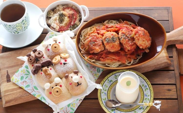 チョコチップ入りの動物ちぎりぱん&イタリアンミートバールのパスタ&サバと根菜のオーブン焼き&ナッツの香りの蒸しプリン