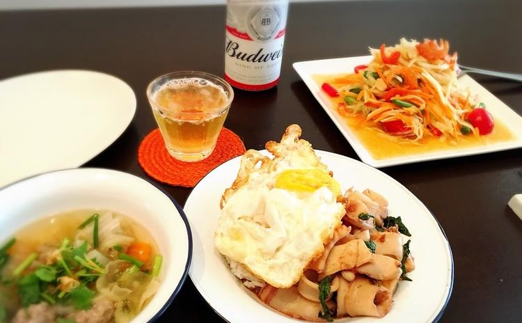 イカのガパオ炒めライス&白キクラゲと肉団子のスープ&青パパイヤのサラダ