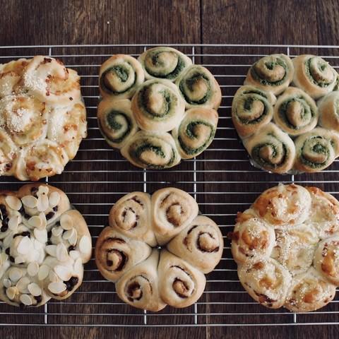 3種のロールインちぎりパン