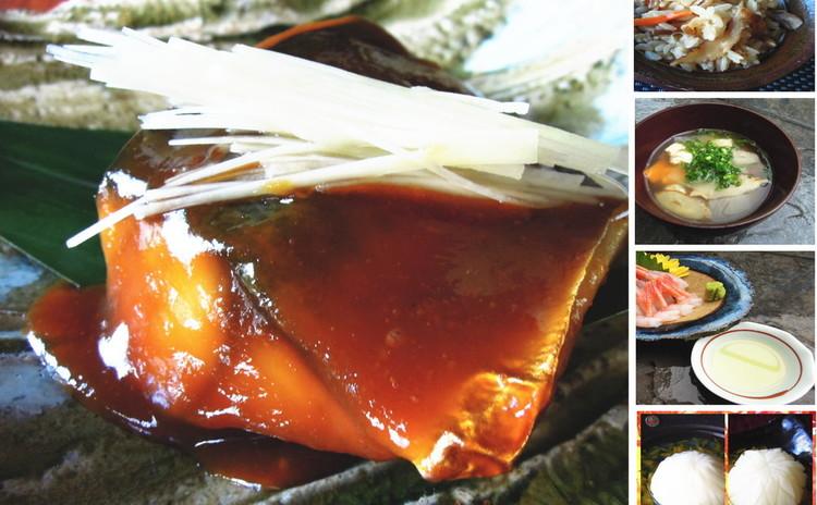 晩秋の一汁三菜、鯖味噌・けんちん汁  ・きのこ炊き込みご飯・煎り酒・菊花蕪