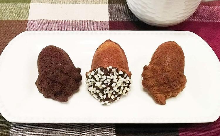 この季節の美味しいマドレーヌ・3種類の可愛いドングリを作りましょう♪