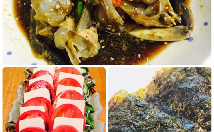 ガンジャンゲジャン간장게장(韓国料理) トマト豆腐サラダ메실소스、生海苔(お土産ゲジャンあり)リクエスト