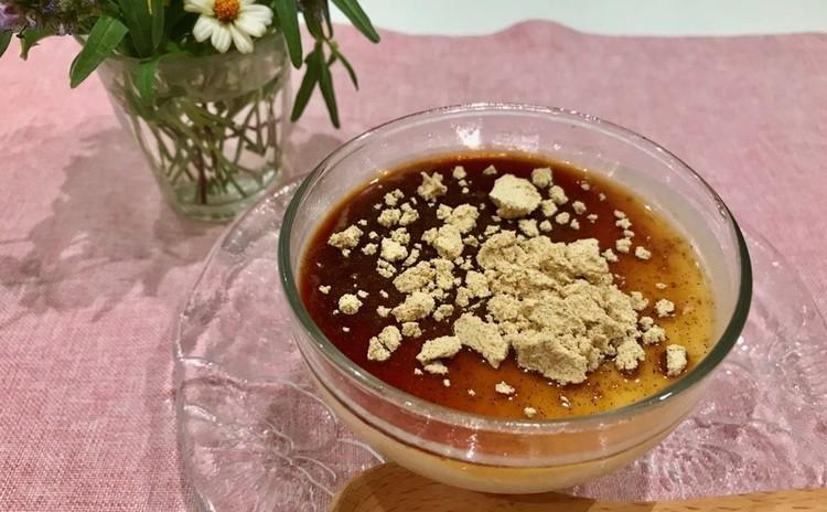 蒸し中華おこわ、揚げシュウマイ、秋茄子の胡麻酢和え、淡雪スープ、甘酒信玄プリン