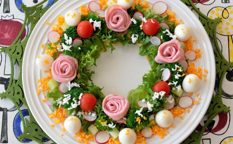 彩りのリースサラダ