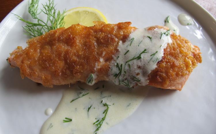 鮭のヨーグルトマリネ ザクザク衣のフライ ヨーグルトソース