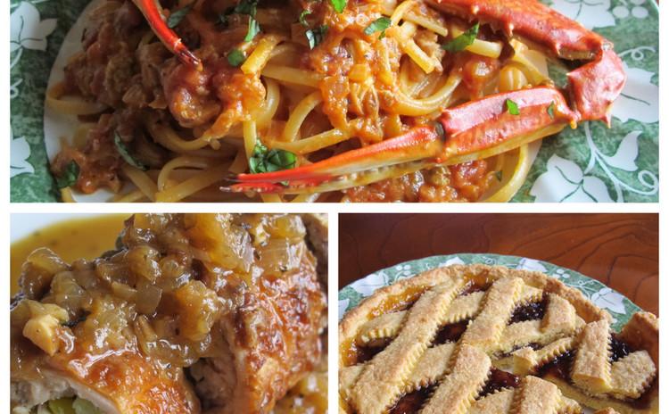 渡り蟹のトマトクリームパスタ、チキンロールのマスタード風味