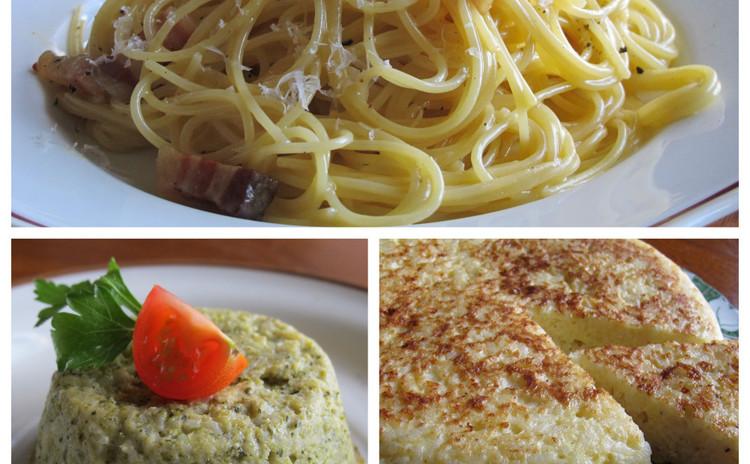 カルボナーラ、ブロッコリーのスフォルマート、お米のフリッタータ