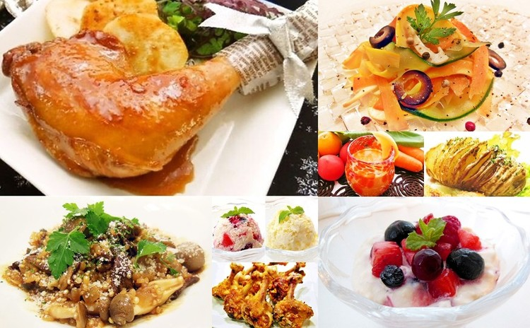 Xmasその②/ローストチキンレッグ赤と黄色の2種のフルーツソース、キヌアとポルチーニ茸のリゾット、フルーツフール他全10種❀お土産付き