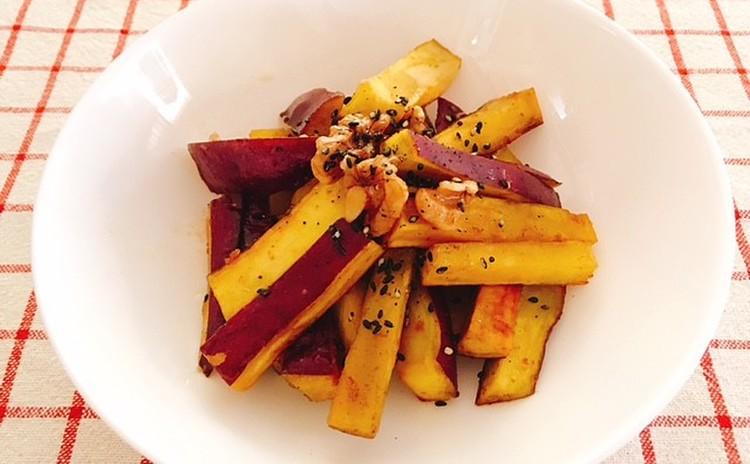 旬の食材でヘルシー料理! カボチャのコロッケ、海老とエリンギのアヒージョ、白菜とベーコンのミルクスープ、サツマイモとクルミのきんぴら、焼りんごのアイス添え