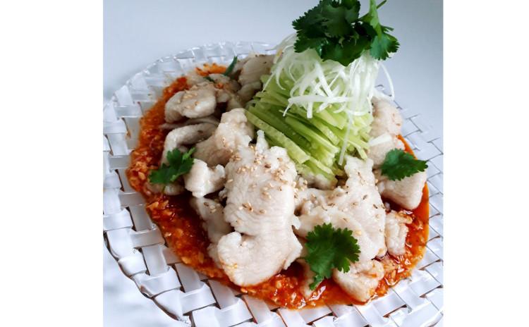 【砂糖不使用ヘルシー中華】海老の紹興酒漬け、つるりん四川風水晶鶏、中華風ネギザーサイサラダ
