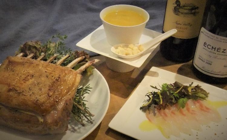 🎄✨クリスマス✨🎄⭐失敗しない骨付き仔羊の基本⭐ オーストラリア産仔羊のロティ カボチャの優しいポタージュ   鮮魚のカルパッチョ 甘酸っぱいグレープフルーツヴィネグレット