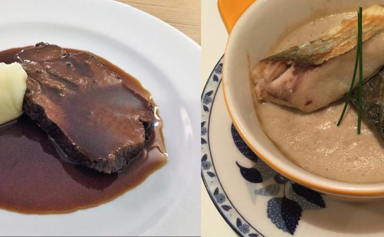 冬のごちそうメニュー2品。牛タンのシチューと茸のフラン。