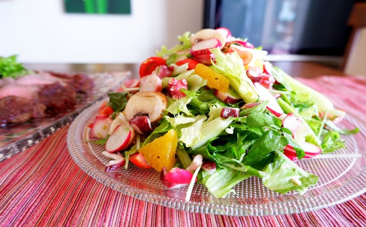 水菜とタコとオレンジの贅沢サラダ