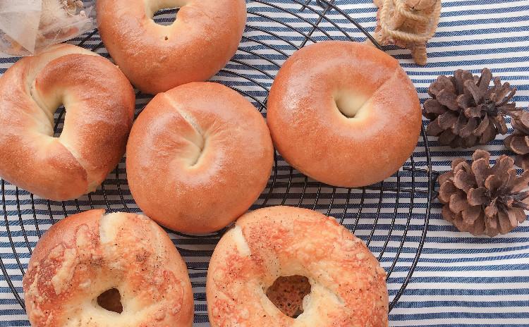 ベーグル3種 (プレーン、チーズ、クランベリーとくるみ)ベーグルサンドにして食べよう!
